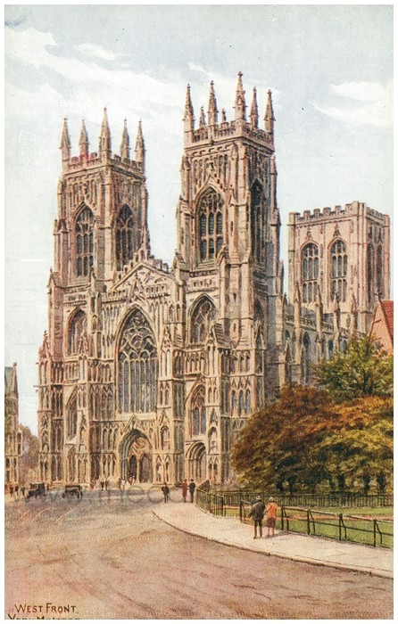 Postcard front: West Front. York Minster