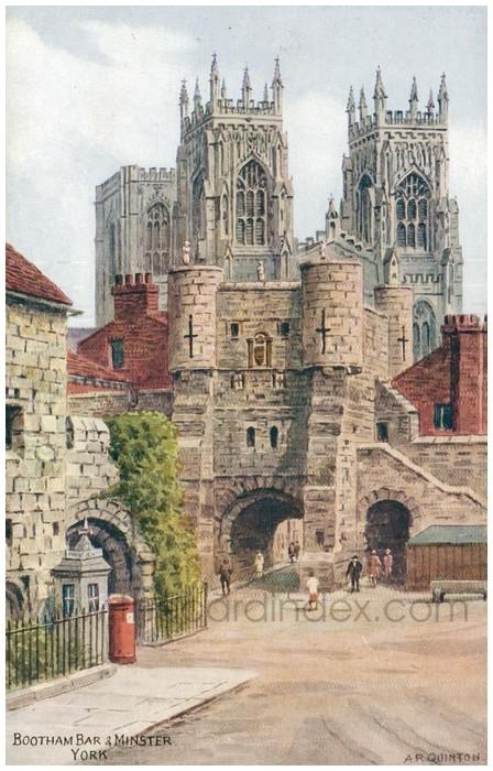 Postcard front: Bootham Bar & Minster. York