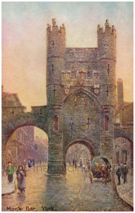 Postcard front: Monk Bar, York