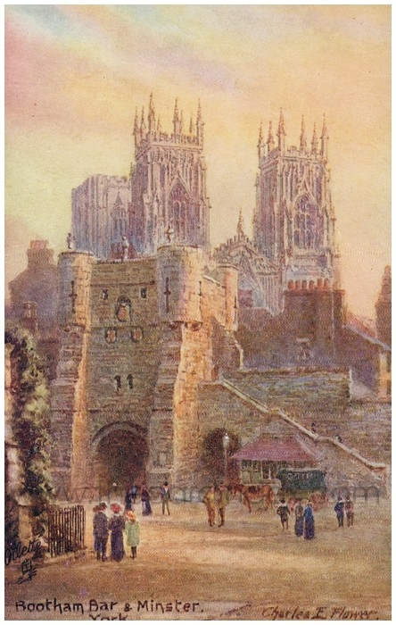 Postcard front: Bootham Bar & Minster. York
