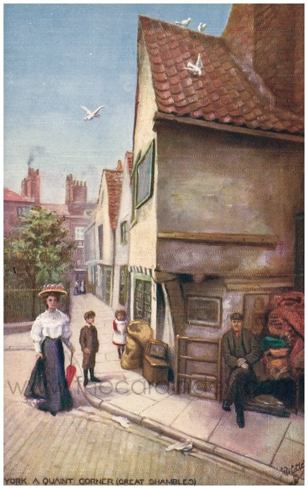 Postcard front: York. A Quaint Corner (Great Shambles)
