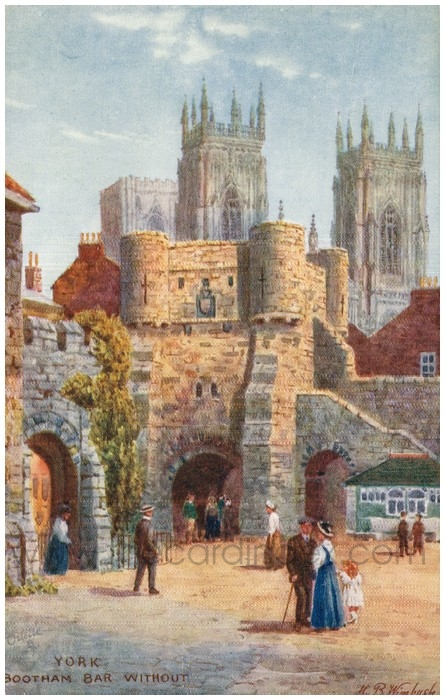 Postcard front: York Bootham Bar Without