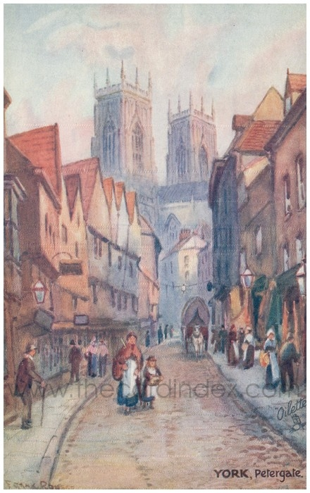Postcard front: York, Petergate.