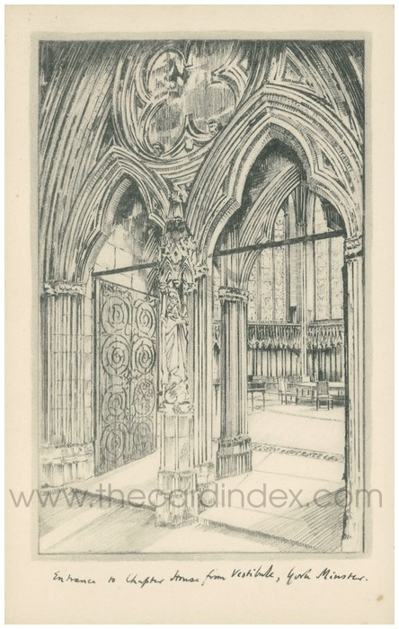 Postcard front: Entrance to Chapter House from Vestibule, York Minster