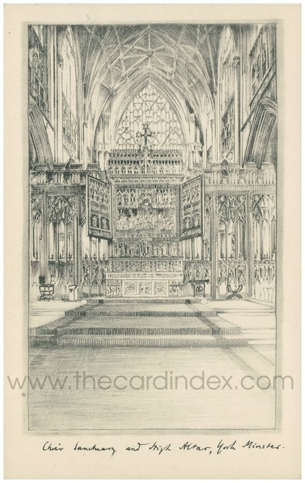 Postcard front: Choir Sanctuary and High Altar, York Minster
