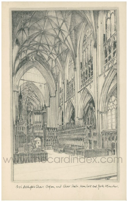 Postcard front: Archbishops Chair, Organ and Choir Stalls from East End, York Minster