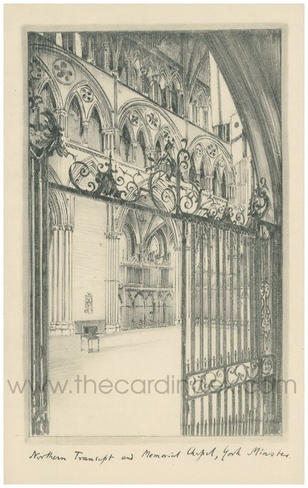 Postcard front: Northern Transept and Memorial Chapel, York Minster