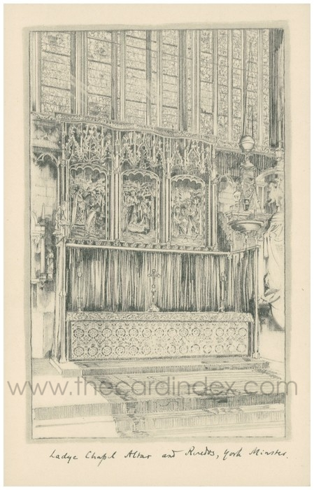 Postcard front: Ladye Chapel Altar and Reredos, York Minster