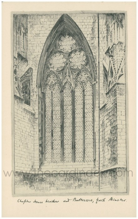 Postcard front: Chapter House Window and Buttresses, York Minster