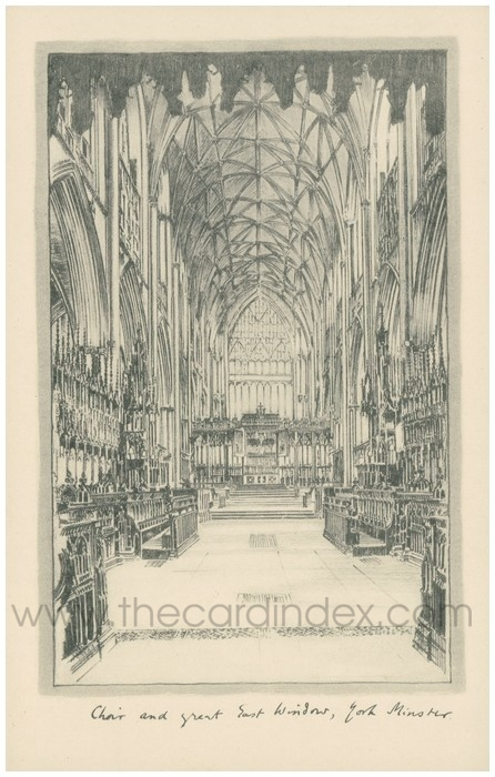 Postcard front: Choir and Great East Window, York Minster