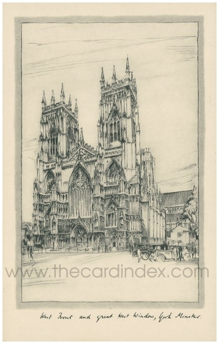 Postcard front: West Front and Great West Window, York Minster