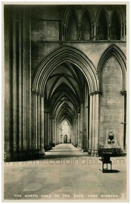 Postcard front: The North Aisle of the Nave, York Minster