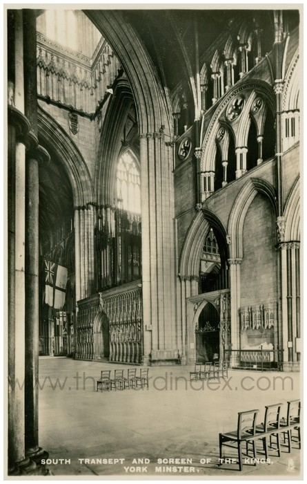 Postcard front: South Transept and Screen of the Kings, York Minster