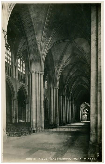 Postcard front: South Aisle (Eastwards), York Minster