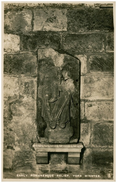 Postcard front: Early Romanesque Relief, York Minster