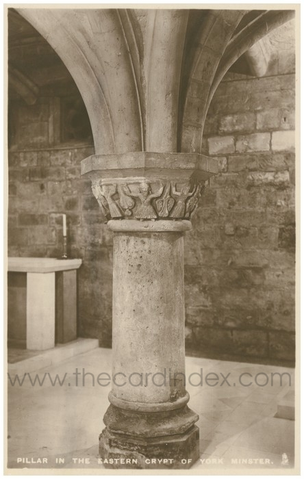 Postcard front: Pillar in the Eastern Crypt of York Minster