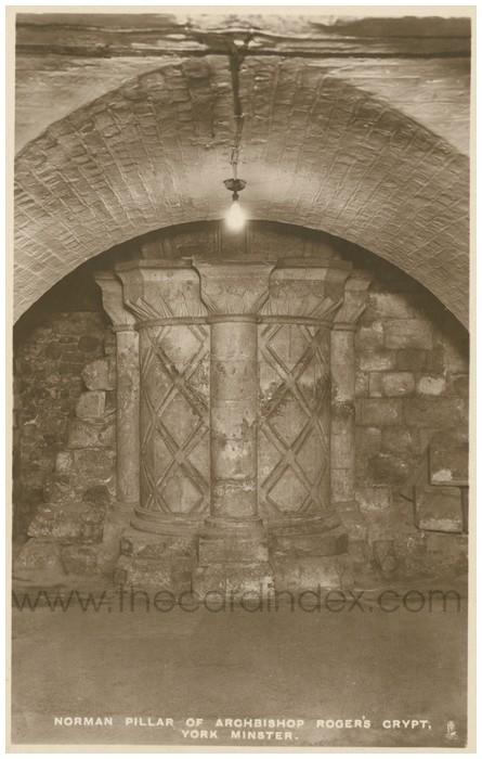 Postcard front: Norman Pillar of Archbishop Roger's Crypt. York Minster