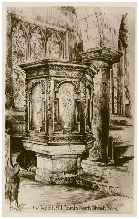Postcard front: The Pulpit, All Saints North Street, York