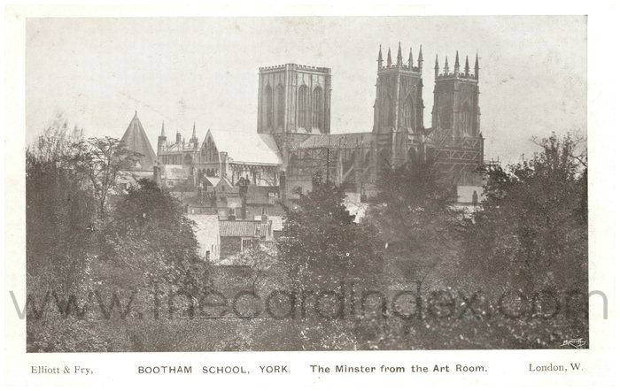 Postcard front: Bootham School, York  The Minster from the Art Room