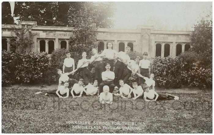 Postcard front: Yorkshire school for the Blind, Senior Class, Physical Training