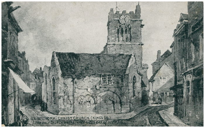 Postcard front: York: Christ Church, (King's Sq.) (The only church where three sides can be seen)