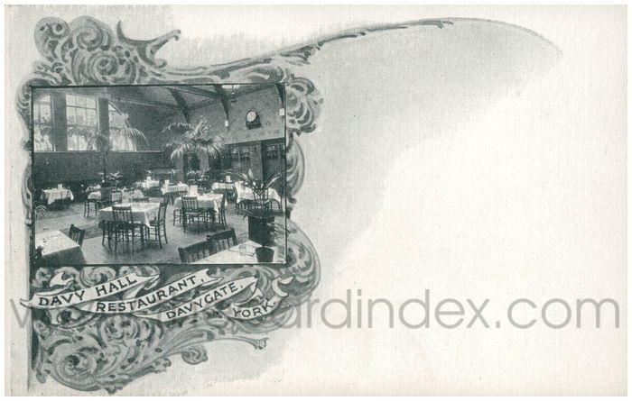 Postcard front: Davy Hall Restaurant, Davygate, York