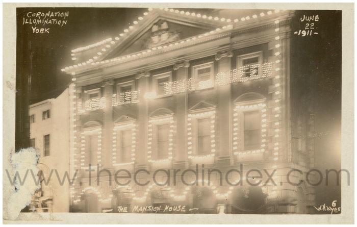 Postcard front: Coronation Illumination York - The Mansion House