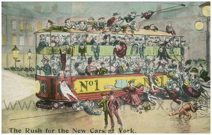 Postcard front: The Rush for the New Cars at York