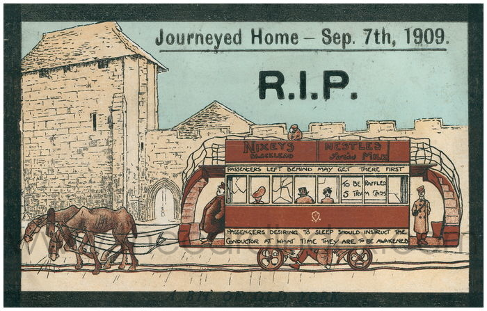 Postcard front: Journed Home - Sep 7th 1909 R.I.P.