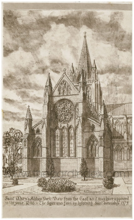 Postcard front: Saint Mary's Abbey York - View from the East as it may have appeared in the year 1296 - The spire was fired by lightening Saint James day 1375