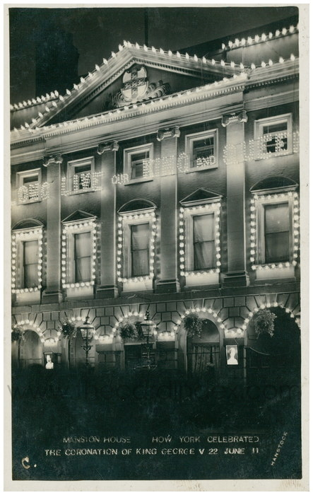 Postcard front: Mansion House How York Celebrated the Coronation of King George V 22 June 11