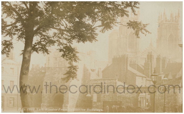 Postcard front: York Minster from the Exhibition Building