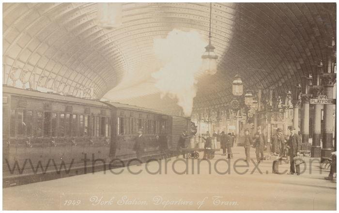 Postcard front: York Station Departure of Train
