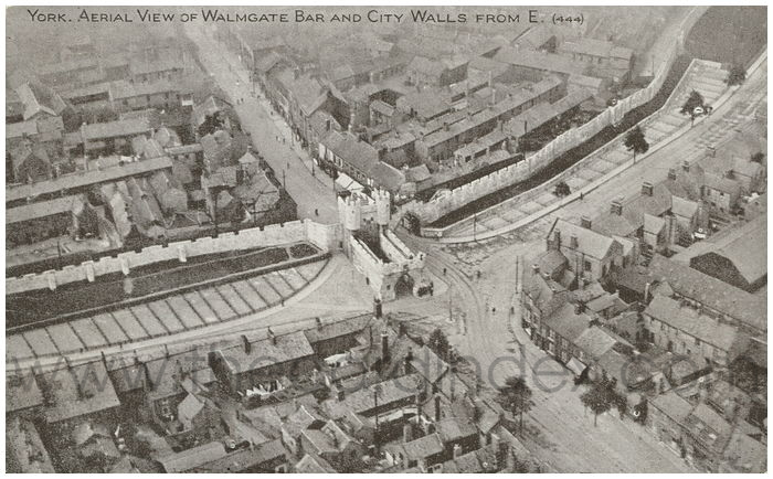 Postcard front: York. Aerial View of Walmgate Bar and City Walls from E.