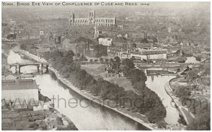 Postcard front: York. Birds eye view of confluence of Ouse and Ness
