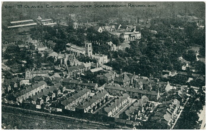 Postcard front: York. St. Olaves Church from over Scarborough Railway