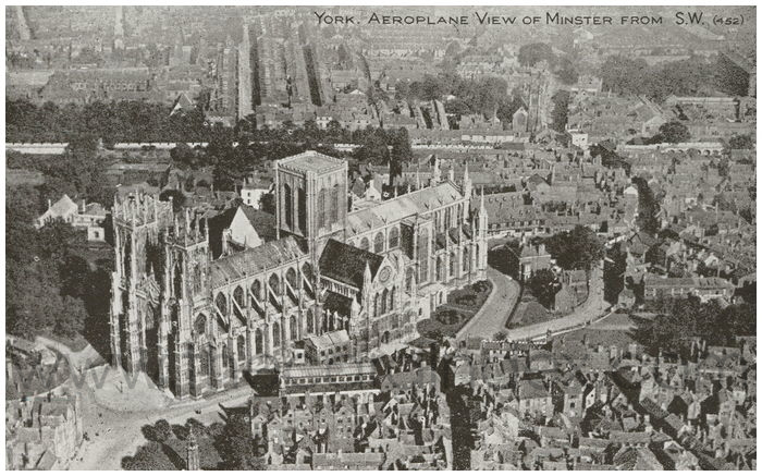 Postcard front: York. Aeroplane view of Minster from S.W.