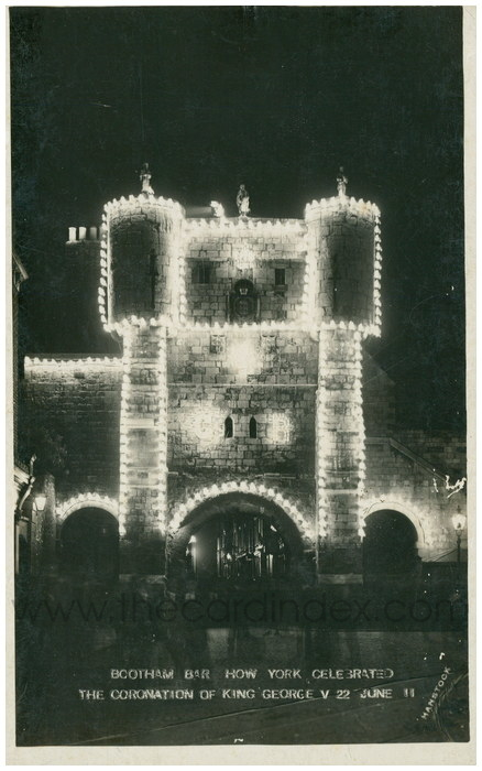 Postcard front: Bootham Bar How York Celebrated the Coronation of King George V 22 June 11