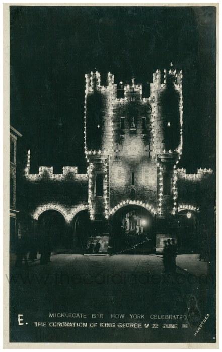 Postcard front: Micklegate bar How York Celebrated the Coronation of King George V 22 June 11