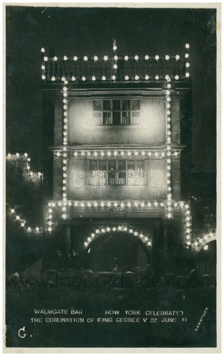 Postcard front: Walmgate Bar How York Celebrated the Coronation of King George V 22 June 11