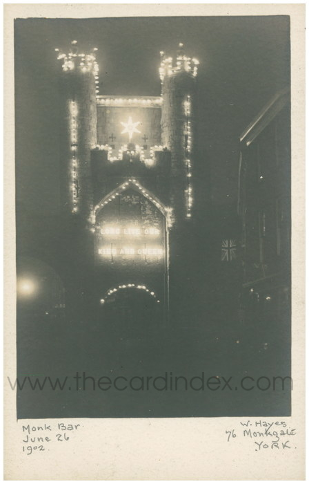 Postcard front: Monk Bar June 26 1902