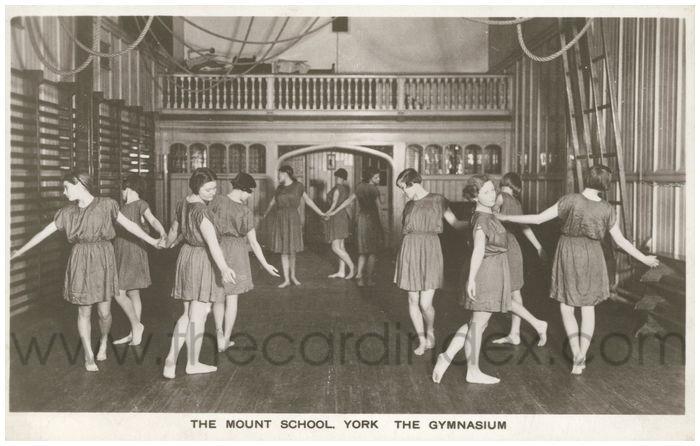 Postcard front: The Mount School. York The Gymnasium
