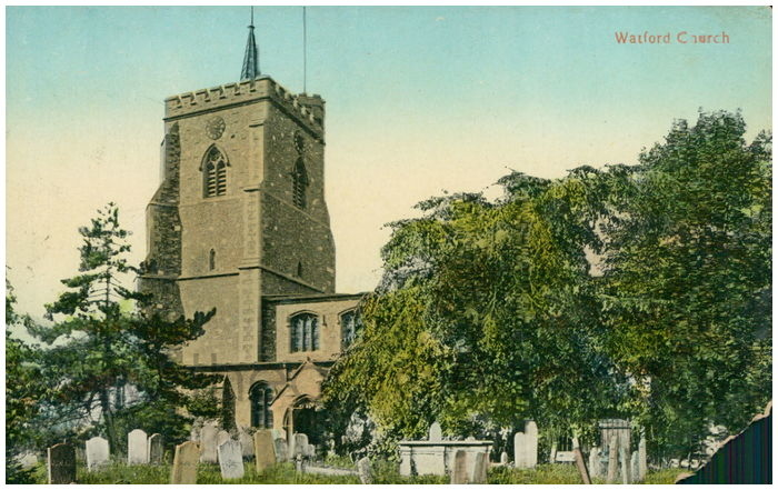 Postcard front: Watford Church
