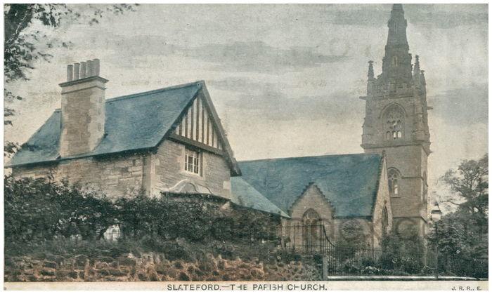 Postcard front: Slateford. - The Parish Church