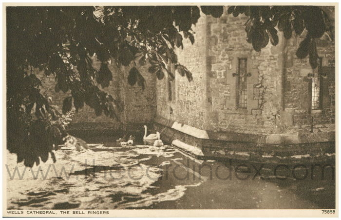 Postcard front: Wells Cathedral, The Bell Ringers