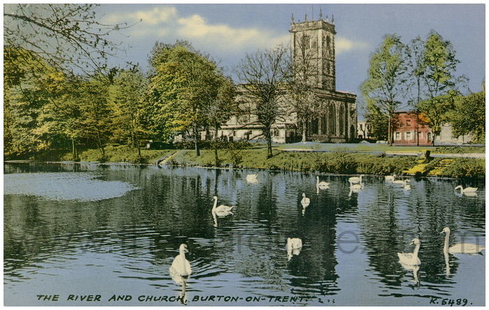 Postcard front: The River and Church, Burton-on-Trent