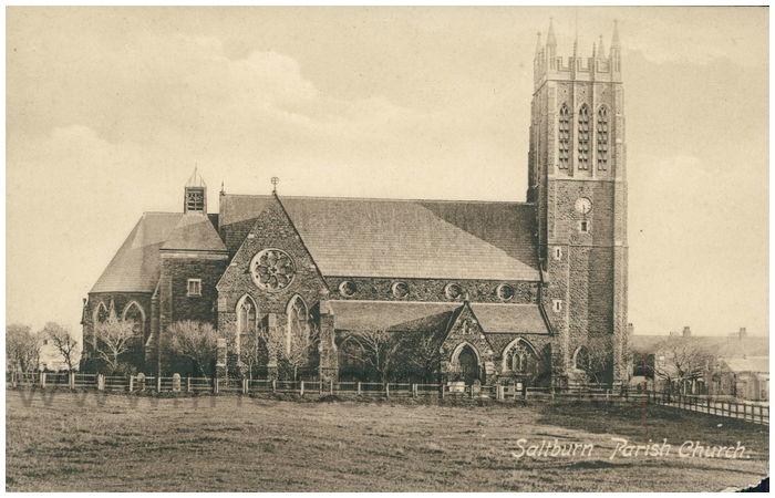Postcard front: Saltburn Parish Church