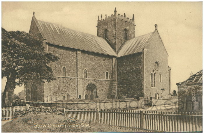 Postcard front: Stow Church from S.W