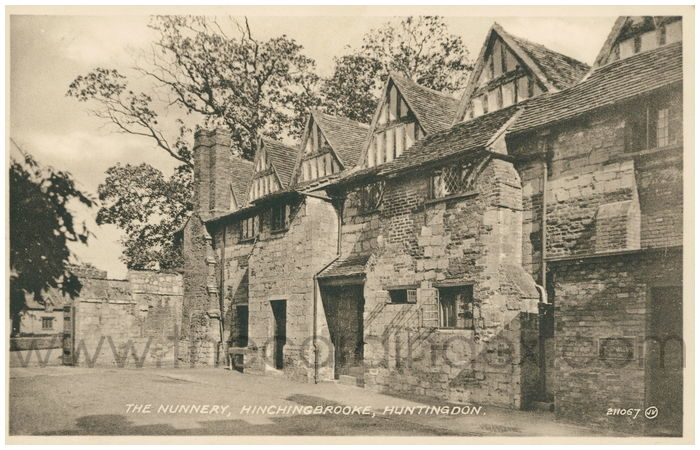 Postcard front: The Nunnery, Hinchingbrooke, Huntingdon