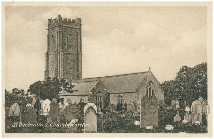 Postcard front: St. Decuman's Church, Watchet